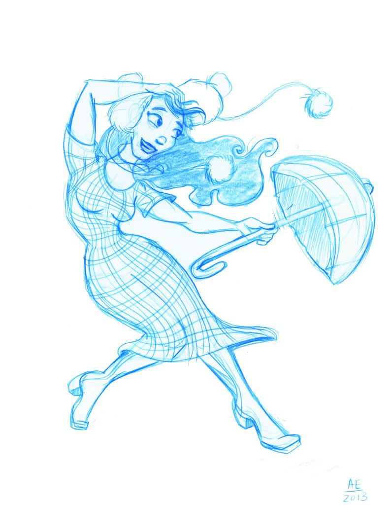 Imogene holds an umbrella