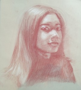 Self portrait done on strathmore velvet grey paper with red pencil