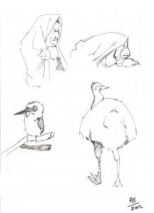 A chimp in a blanket, a kookaburra and an emu walk into a bar...
