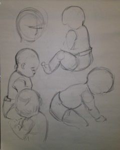 Baby in various action modes